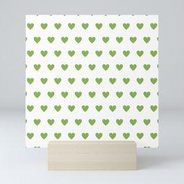 Polka dot hearts - greenery Mini Art Print