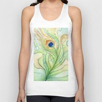 peacock feather Tank Tops featuring Peacock Feather by Olechka