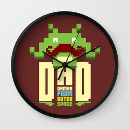 Gamer dad from outer space Wall Clock
