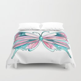 Pink and Blue Watercolor Butterfly Duvet Cover