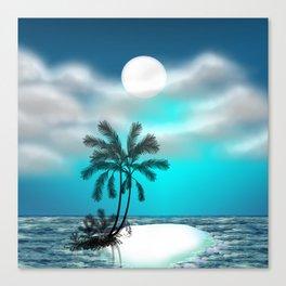 Palm trees on an island Canvas Print