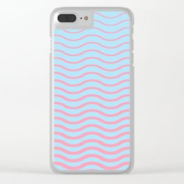 Waves Pattern, Geometric, Abstract, pink and light blue, Clear iPhone Case