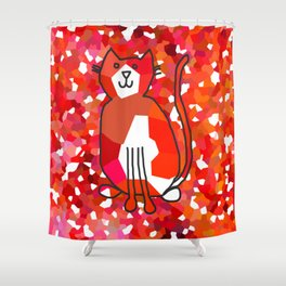 Crystal Cat - Red Shower Curtain