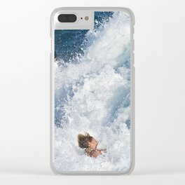 Sports Wipe Out Surf City USA Clear iPhone Case