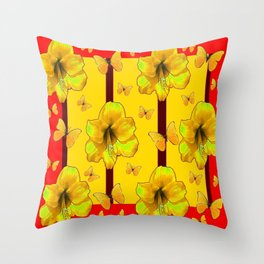 """FOR THE LOVE OF BUTTERFLIES"" RED-YELLOW ART Throw Pillow"