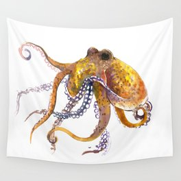 Octopus, orange red gold underwater scene octopus lover design, beach Wall Tapestry