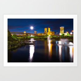 Tulsa Oklahoma City Park Skyline at Dawn Art Print
