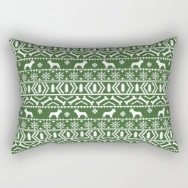 Boston Terrier fair isle dog pattern silhouette christmas sweater green and white Rectangular Pillow