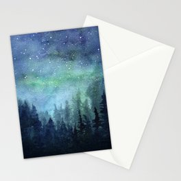 Watercolor Galaxy Nebula Northern Lights Painting Stationery Cards