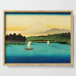 Sailboats on River Mount Fuji Japan Serving Tray