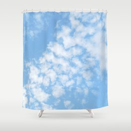 Summer Sky with fluffy clouds Shower Curtain
