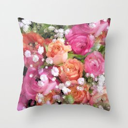 Baby's Breath and Candy Roses Throw Pillow