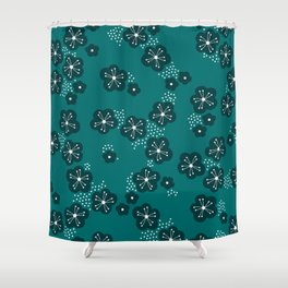 Hello spring Japanese cherry blossom love teal Shower Curtain
