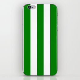 Green (HTML/CSS color) - solid color - white vertical lines pattern iPhone Skin