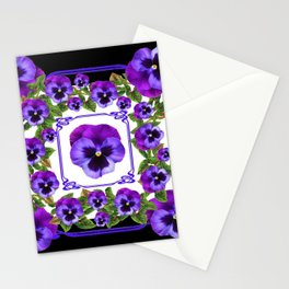SPRING PURPLE PANSY FLOWERS  BLACK GARDEN ART Stationery Cards