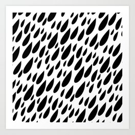 Black + White Drops Art Print