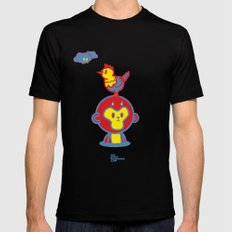 The Monkey and The Rooster  Black Mens Fitted Tee MEDIUM
