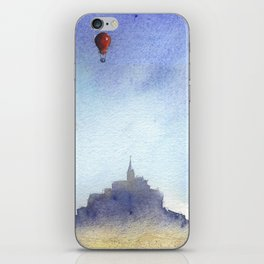 Mt St Michel and red baloons iPhone Skin