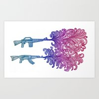 guns Art Prints featuring Guns by Malik Zenger
