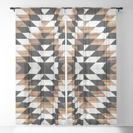 Urban Tribal Pattern No.13 - Aztec - Concrete and Wood Sheer Curtain