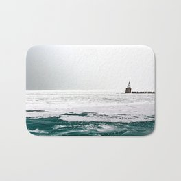 Winter in Chicago aka Chiberia; Ice Patches Float in Lake Michigan Bath Mat