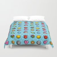 gym Duvet Covers featuring Gym Badges by Moysche Designs