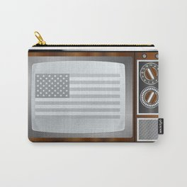 Patriotic Black And White Television Carry-All Pouch