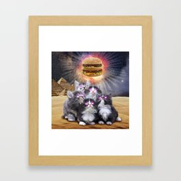 space cats looking for the burger Framed Art Print