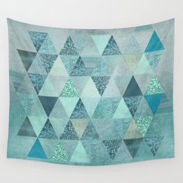 Glamorous Blue Glitter And Foil Triangles Wall Tapestry