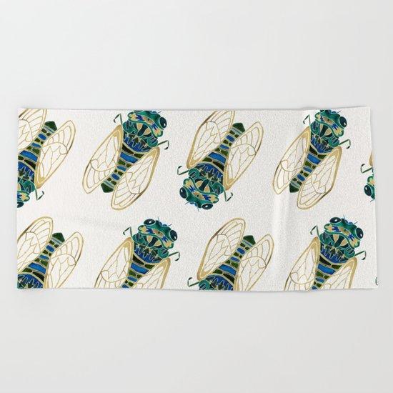 Green & Gold Cicada Beach Towel