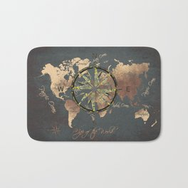 world map wind rose 8 #worldmap #map Bath Mat