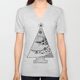 Doodle Christmas Tree Unisex V-Neck