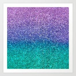 Lavender Purple & Teal Glitter Art Print