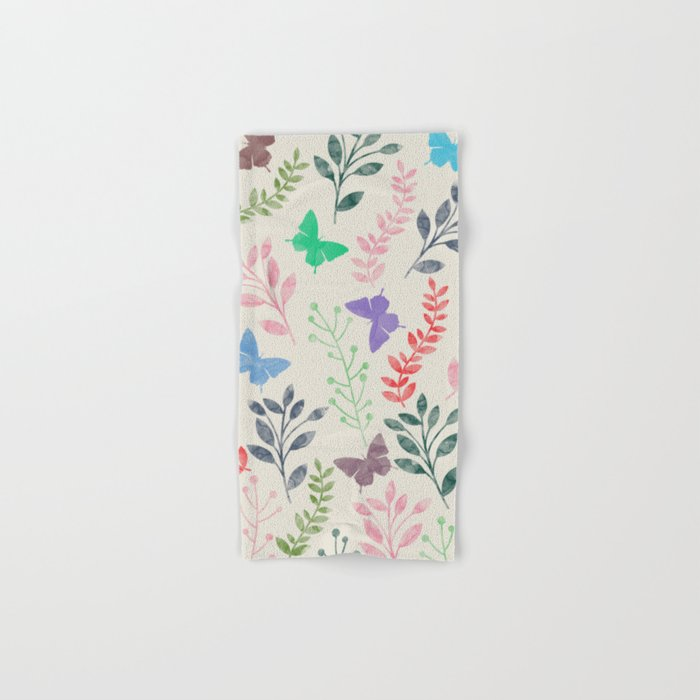 Watercolor flowers & butterflies Hand & Bath Towel