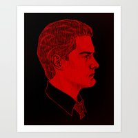dale cooper Art Prints featuring Agent Dale Cooper / Twin Peaks by Kat Schneider