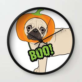Halloween pumpkin pug Wall Clock