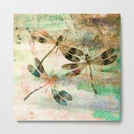 Mauritius Vintage Dragonflies QR Metal Print
