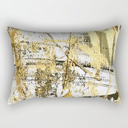 Armor [11]: a bold, elegant abstract mixed media piece in gold pink black and white Rectangular Pillow