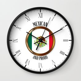 Mexico Proud Flag Button Wall Clock