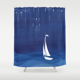 Garland of stars, sailboat Shower Curtain