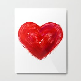 Heart Watercolor Heart Red Heart Valentine Day Gift Anniversary Gift One Year Anniversary Idea Gift Metal Print