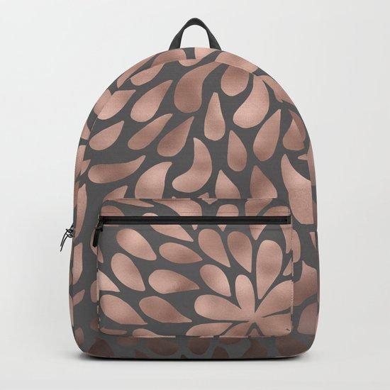 Rosegold- abstract floral elegant pattern on grey background Backpack