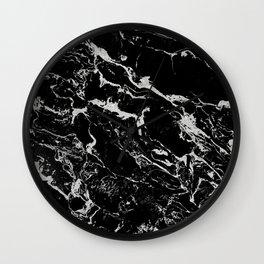 Modern silver black marble pattern Wall Clock