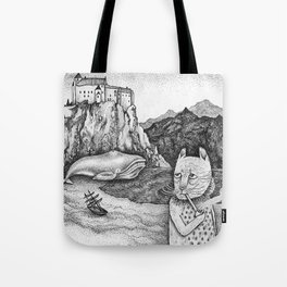 The Whale, The Castle & The Smoking Cat Tote Bag