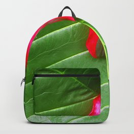 Avant-Garde Leaf Close-Up With Ruby Red Flower Backpack