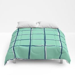 Aqua blue plaid, pool tiles pattern, tartan Comforters
