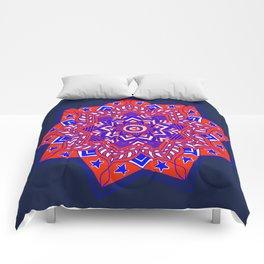 Red White and Blue Mandala star swirl Comforters