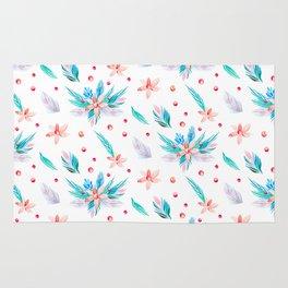 Pastel coral teal watercolor floral polka dots pattern. Rug