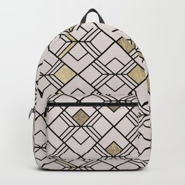 Abstract geometrical black blush pink gold shapes Backpack