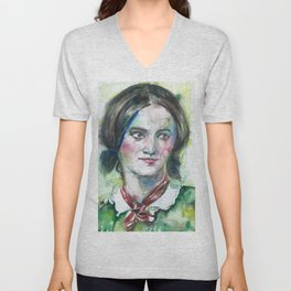 CHARLOTTE BRONTE watercolor portrait Unisex V-Neck